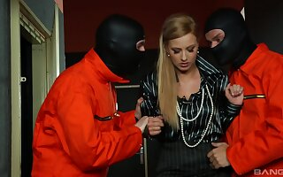 Masked dudes share this blonde hottie in a crazy trilogy