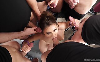 First gangbang bonuses this fine arse lady a huge facial experience