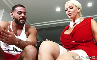 Housewife with king room boobs Alura Jenson bangs husband's assorted trainer