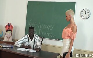 Bald secured student Joslyn James is fucked wide of Negroid teacher
