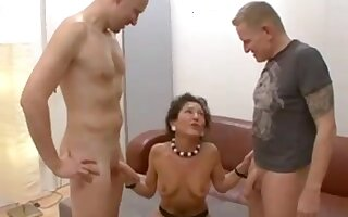 German mature gets creampie plus facial from several followers