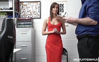 Security sponger punishes slender popular woman Christy Love