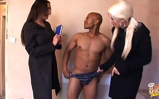 Emma Butt and Krystal Niles take off a black dudes clothes and blow him