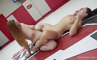 Lesbo dolls share the ring be required of intense sexual catfight