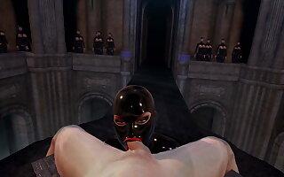 3D VR SFM Bondage Latex Mistress With Strapping Tits Sucks off Slave