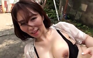 Japanese hairy banged outdoor