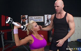 Fit blonde MILF Nikita Von James moans with pleasure during coitus