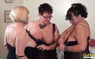 OldNannY Auntie Trisha Trio Lesbian Party Masturbation
