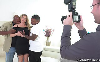 Two black dudes with monster dicks fuck well-endowed battle-axe Cory Chase