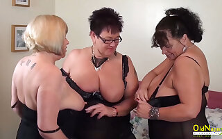 Big natural tits of mature women in threesome lesbian action including pussy masturbation