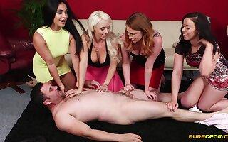 Guy gets bared and pleasured by naughty Christina Shine and retinue