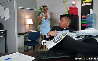 Reprobate action at the office between a thick babe increased by a black hunk