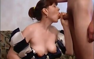 Russian Mommy With Muted Pussy Fucks Son On Couch: Mthrfkr