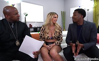In one's birthday suit Latina MILF fucks with two black cops