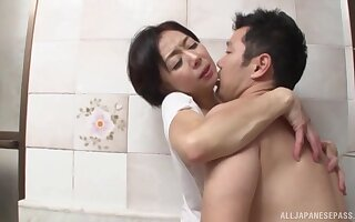 Quickie fucking in the pass a motion with a of age Japanese lover