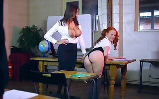 MILF shares huge dong with younger girl in classroom XXX play