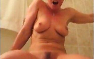 Milf bathroom standing boisterous orgasm
