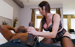MILF in malignant stockings, intriguing home interracial and hard gagging