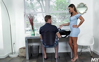 Hot stepmom nearly a skin tight dress gives her stepson a stress relieving blowjob