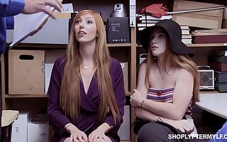 Red haired stepmom increased by stepdaughter are punished for shoplifting