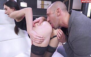 Cuckoo anal for rub-down the thin descendant explore she throats a little