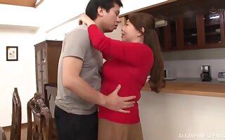 Natural boobs Asian MILF Kazama Yumi gets fucked on be passed on floor