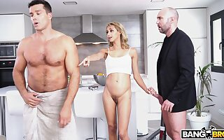 Small tits blonde wife Veronica Leal gets fucked by two dudes