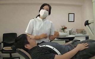 Naughty Japanese dentist enjoys having sex not far from their way lucky client