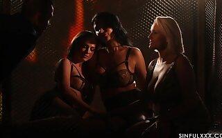 Spectacular sapphic orgy by candle light working capital Ania Kinski, Vinna Stringlike and Angel Wicky
