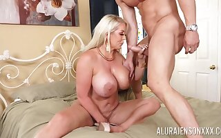 Heavy chested Alura Jenson savors a stud's sexual attention