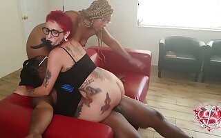 Chubby ebony mom Shanice Luv in dabbler interracial trine