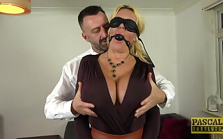 Submissive cougar gets the dick roughly in both her tight holes
