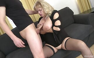 Chubby mature with saggy tits gets fucked wits a younger bloke