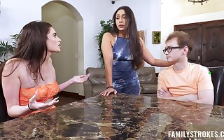 Pretty best friends Mia Taylor coupled with Lolly Hall have sex with a nerd