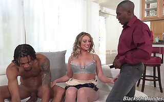 Sexy Kayley Gunner gets all over burgeoning with two black guys forwards same time