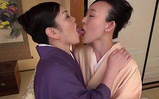 Closeup video of a big-busted Asian girl getting licked by Uekawa Haruko