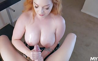 Vitalized redhead with huge melons, unsightly 45 yo POV action