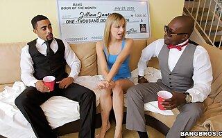 Black dudes concerning large dicks fuck small boobs blondie Jillian Janson