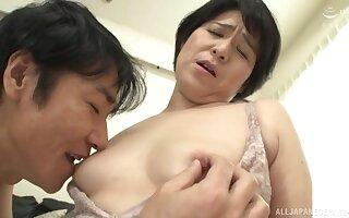 Creampie ending with fat Japanese neighbor Sanada Youko