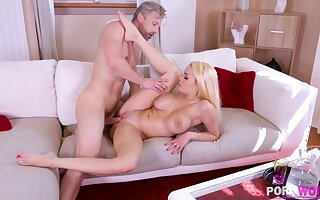 Busty blonde bombshell Victoria June titty & pussy fucked blather deep GP1057