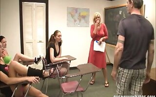 After class handjob action with three teens and mature Carey Riley
