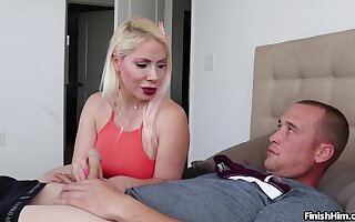 Blonde mature slut Panty Jerk helps her neighbor ejaculate