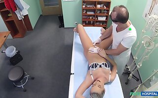 Amazing blonde girl Cristal Caitlin fucked on the hospital bed