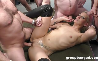 Rough gangbang fucking on the floor with a slutty blonde wife