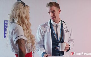 Blonde doctor Alessandra Jane spreads her legs for penetration