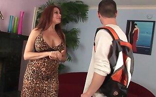 Hot dirty talking cougar takes junior hard cock