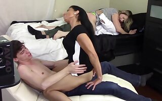 STEP MOM GRINDS SON'_S DICK WHILE STEP DAUGHTER GRINDS STEP DADDY'_S DICK (FAMILY TABOO)