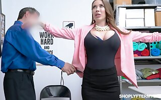 Giant breasted slutty MILF Bianca Burke is bent quit and fucked doggy by cop