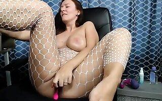 Redhead girl next door in downcast lingerie toys her shaved