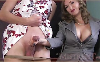 Experienced doll is giving a gentle handjob to a handsome guy, rise make an issue of camera